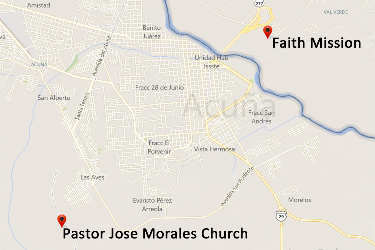 Pastor Jose Morales Church Map