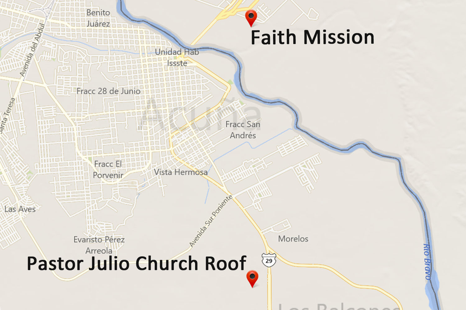 Pastor Julio Church Roof Map