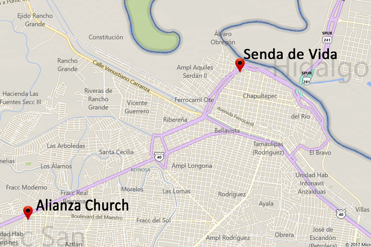 Senda de Vida Apartments Map